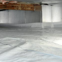 a crawl space with insulated walls and floors