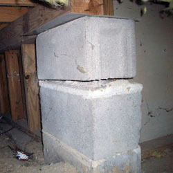 Collapsing crawl space support pillars Russell