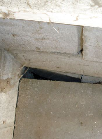 inward rotation of a foundation wall damaged by street creep in a garage in Cumberland
