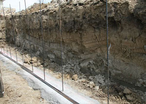Soil layers exposed while excavating to construct a new foundation in Perth