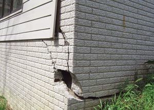 A severely damaged foundation wall in Vanier