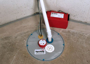 A sump pump system with a battery backup system installed in Manotick