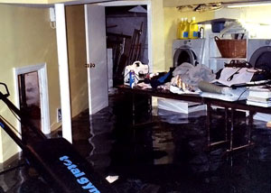 A laundry room flood in Greely, with several feet of water flooded in.