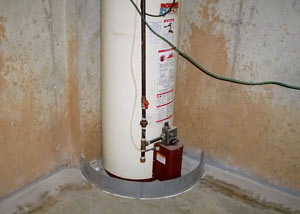 A water heater in Manotick that's been protected by the FloodRing® and a perimeter drain system.