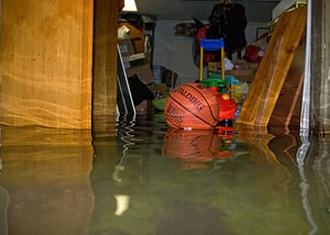 A flooded basement bedroom in Edwards