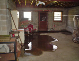 a flooded basement floor in a Embrun home